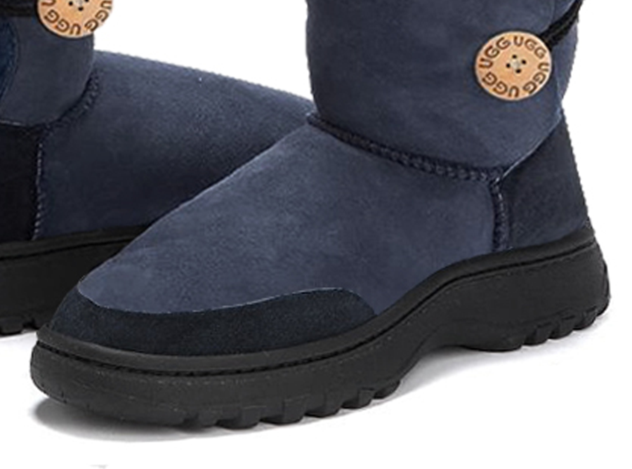 Adults Navy Bella Button Ugg Boot Outdoor Sole Detail