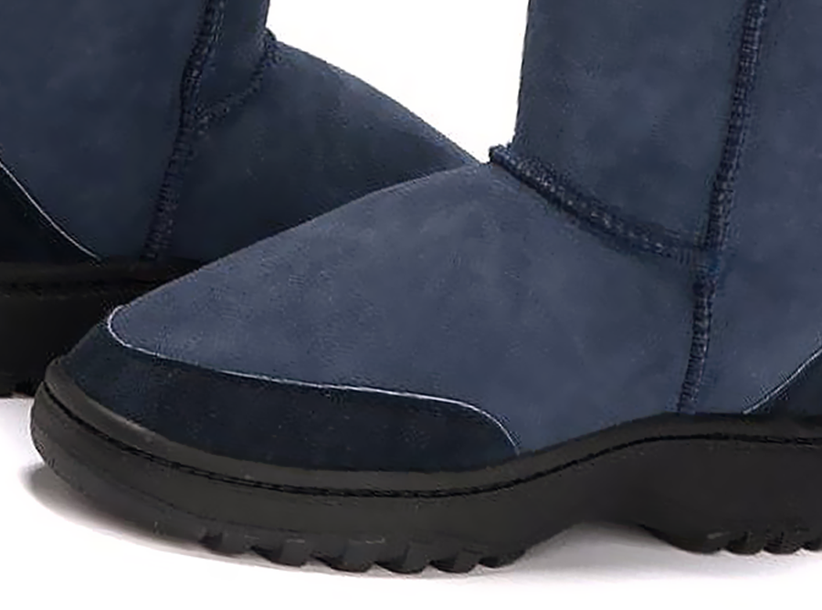 Adults Navy Blue Classic Short Ugg Boots Outdoor Sole Detail