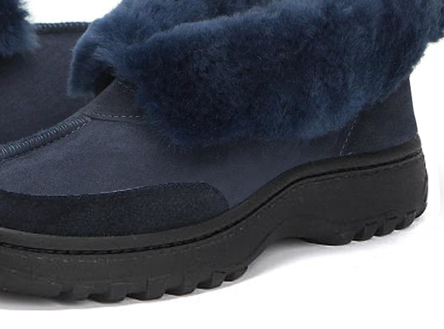 Adults Navy Classic Ugg Style Slipper Outdoor Sole Detail