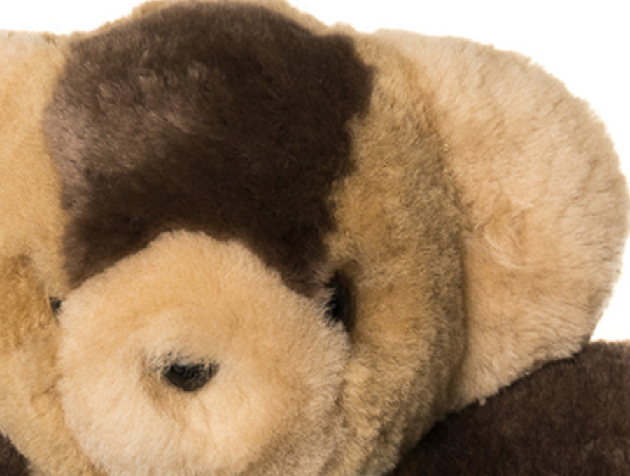 Kids Neutral Patch Sheepskin Toby Bear Face Detail