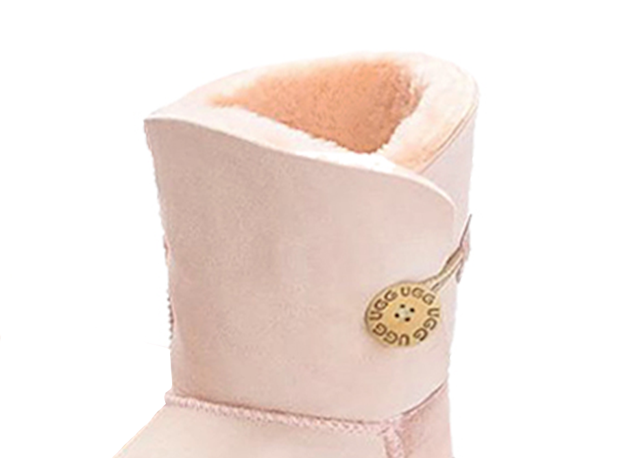 Adults Pink Bella Button Ugg Boot Cuff Detail