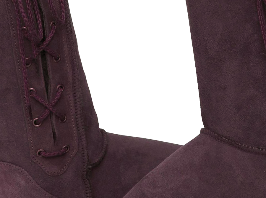 Adults Raisin Lace Up Tall Ugg Boot Detail