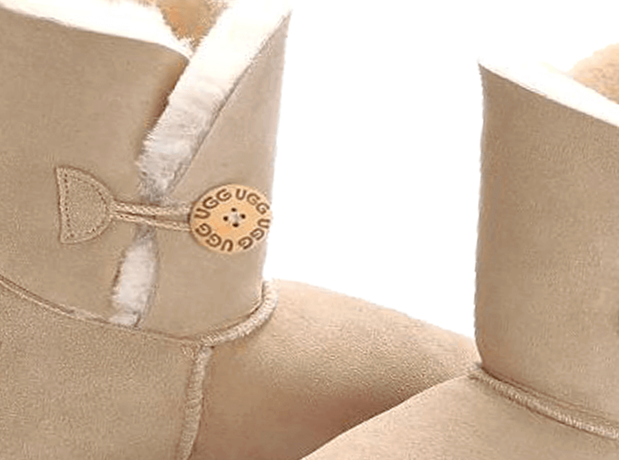 Adults Sand Bella Button Ugg Boot Detail