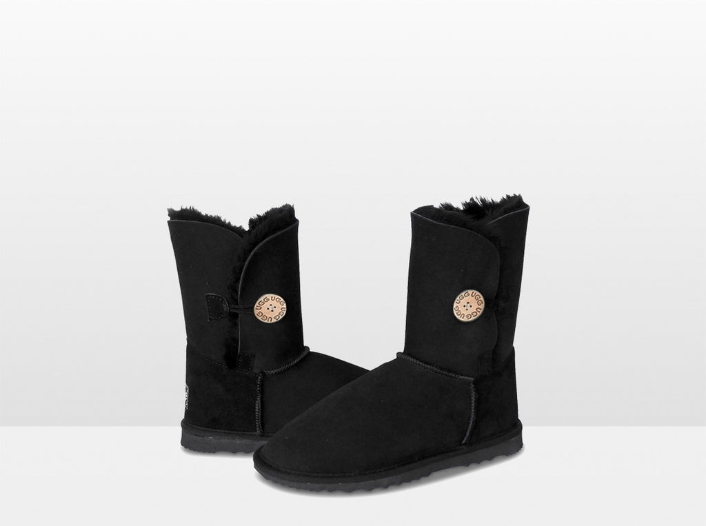 Adults Black Bella Button Ugg Boot