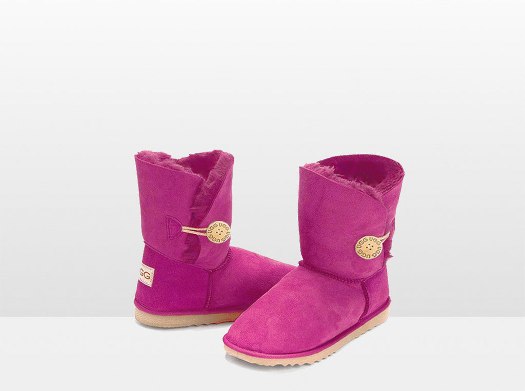 Adults Bright Rose Bella Button Ugg Boot