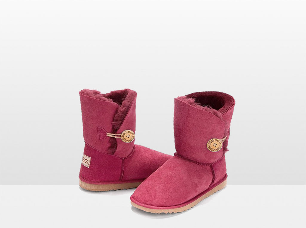 Adults Burgundy Bella Button Ugg Boot