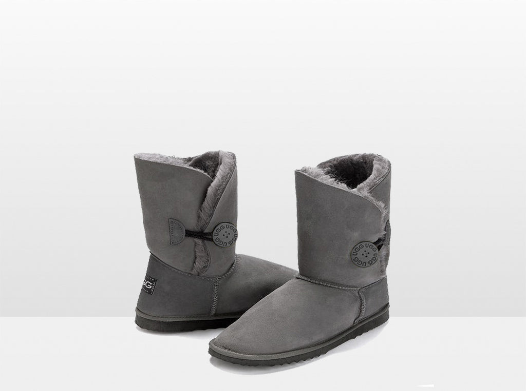 Adults Grey Bella Button Ugg Boot
