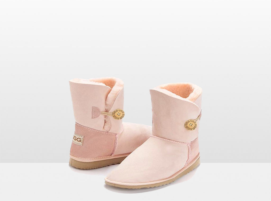 Adults Pink Bella Button Ugg Boot