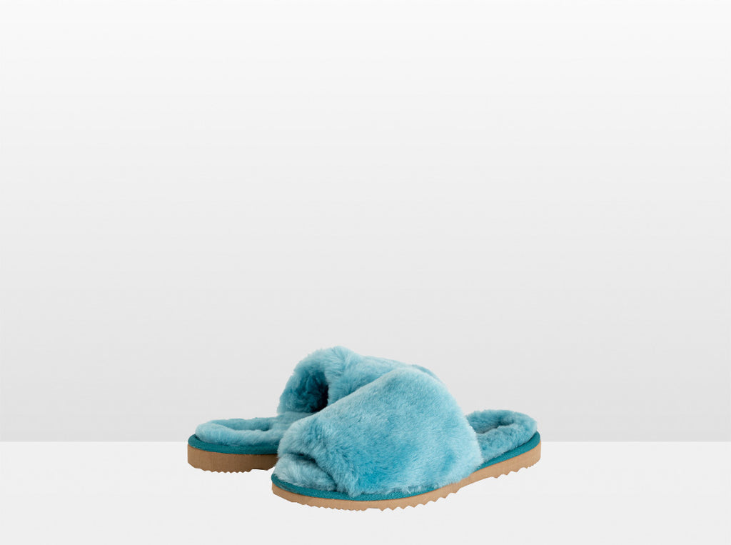 Aussie Uggies Adults Classic Slide Turquoise Blue