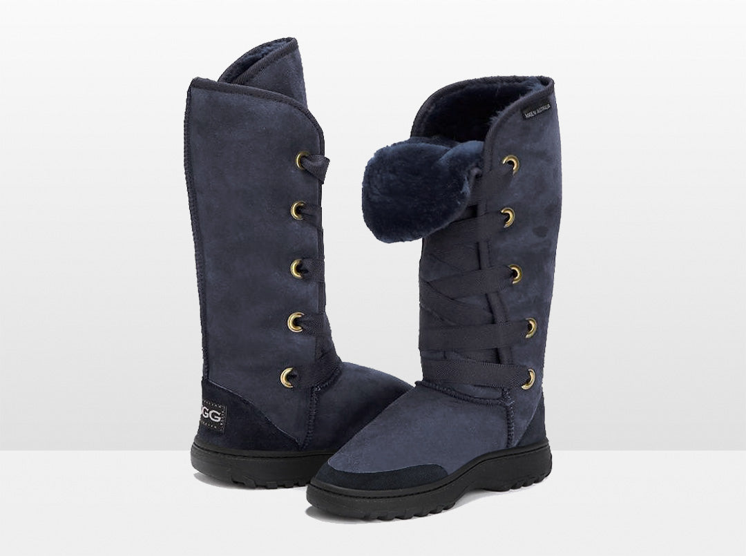 Adults Navy Blue Dance Tall Ugg Boot with Outdoor Sole