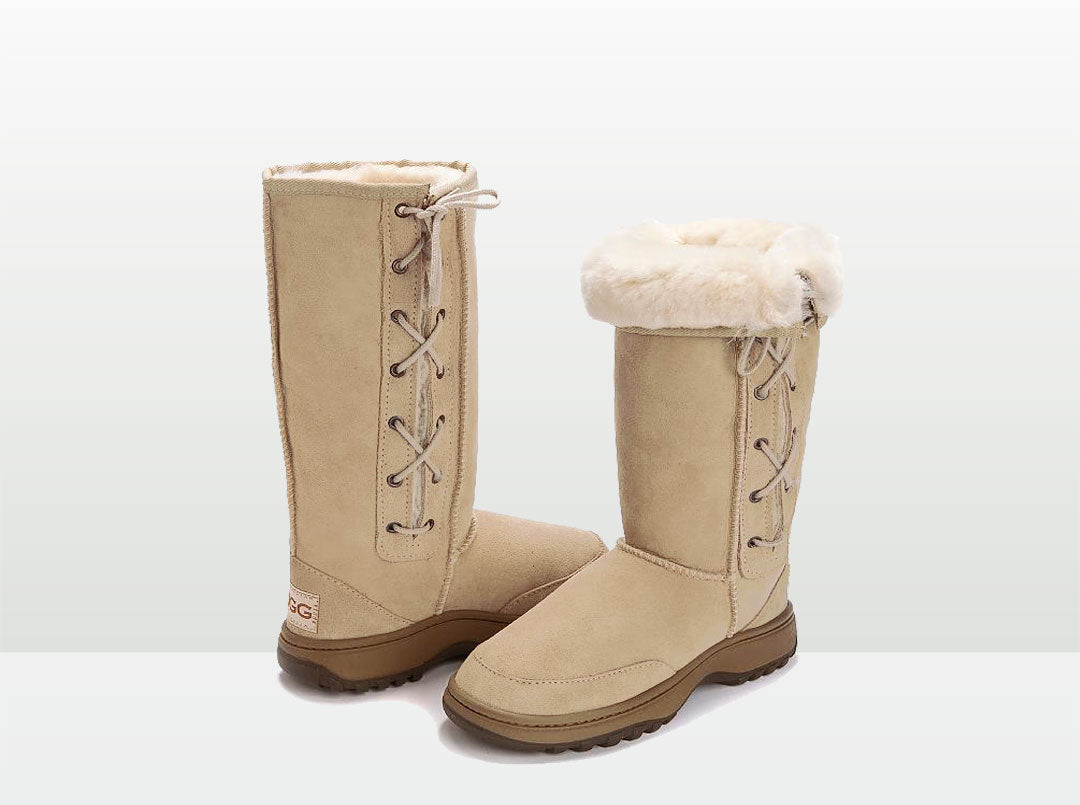 Adults Sand Lace Up Tall Ugg Boot with Outdoor Sole