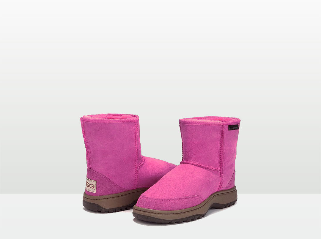 Adults Bright Rose Classic Short Ugg Boots with Outdoor Sole