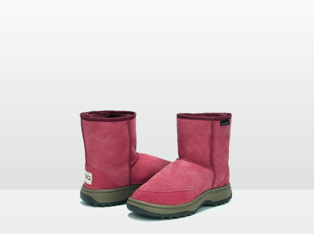 Adults Burgundy Classic Short Ugg Boots with Outdoor Sole