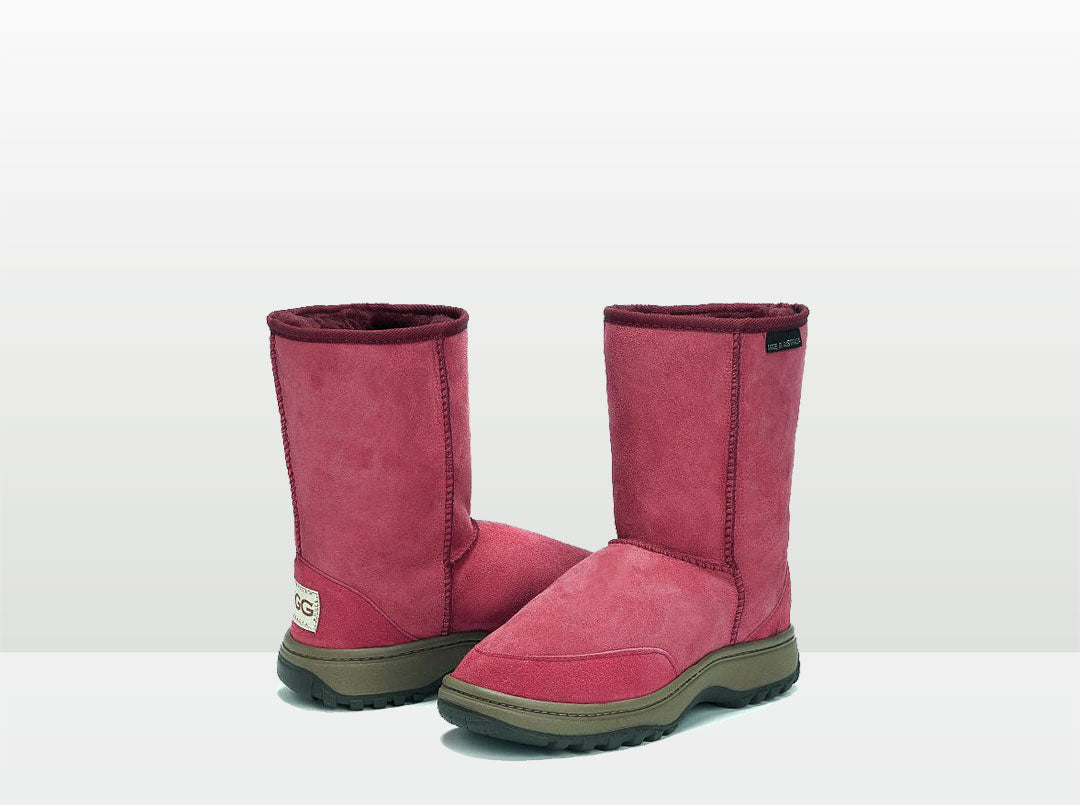 Adults Burgundy Short Deluxe Outdoor Ugg Boots