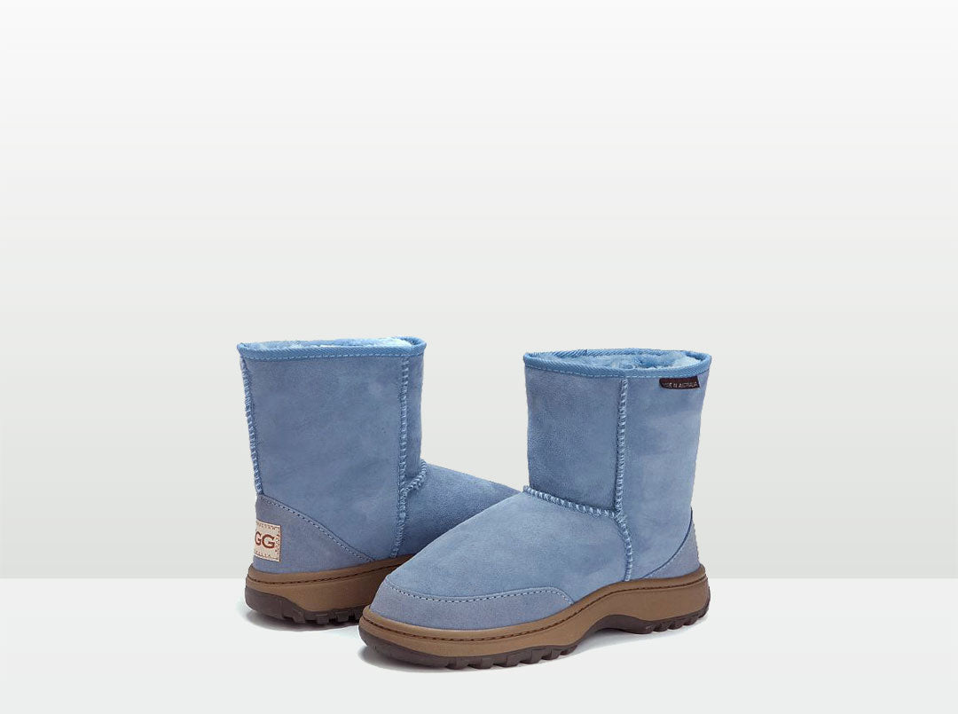 Adults Denim Blue Classic Short Ugg Boots with Outdoor Sole