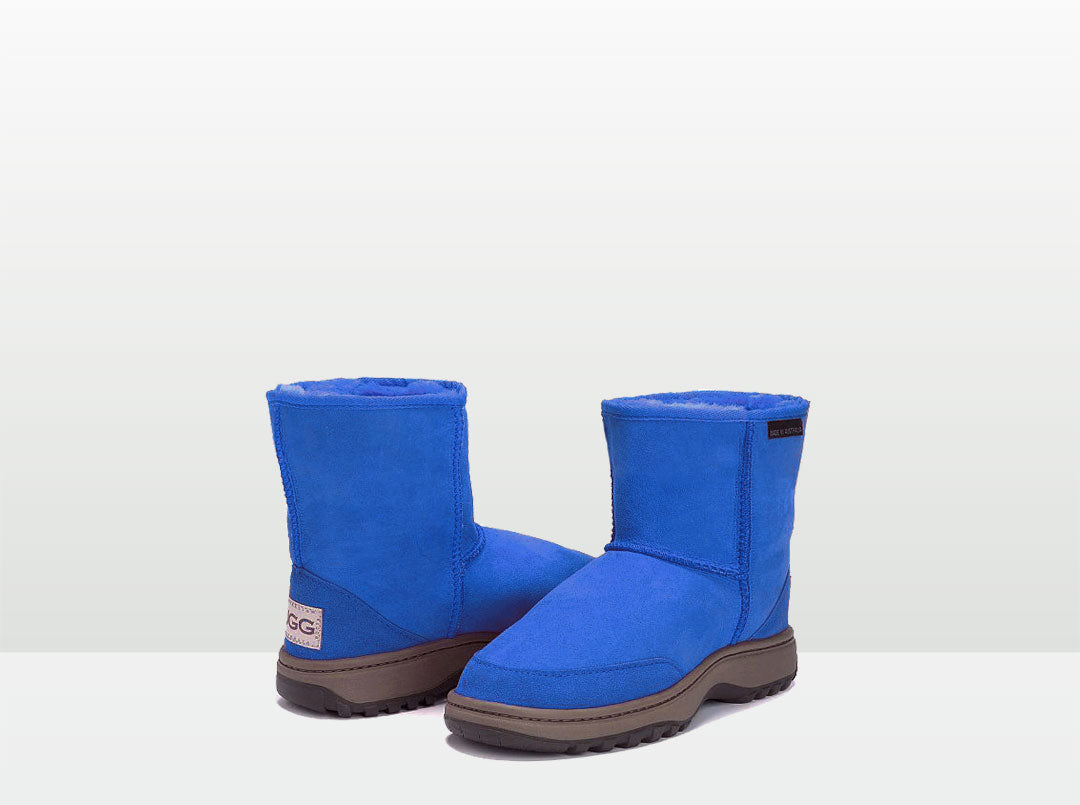 Adults Electric Blue Classic Short Ugg Boots with Outdoor Sole