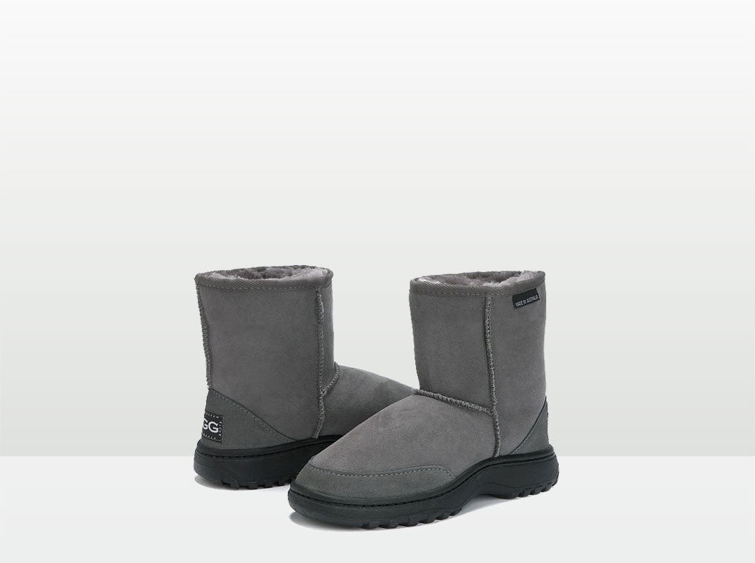 Adults Grey Classic Short Ugg Boots with Outdoor Sole