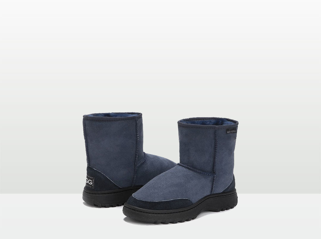 Adults Navy Blue Classic Short Ugg Boots with Outdoor Sole