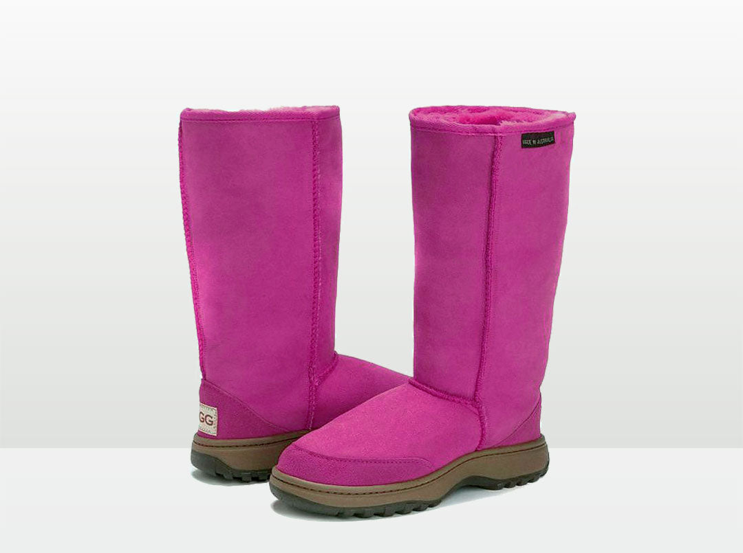 Adults Bright Rose Classic Tall Ugg Boots with Outdoor Sole