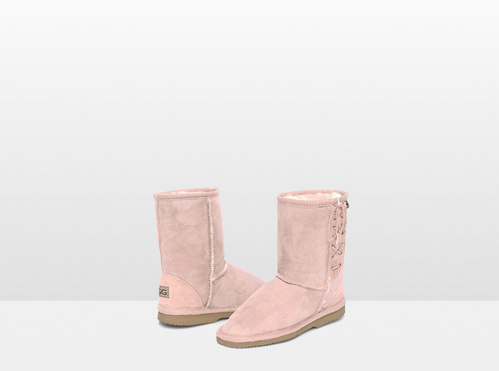 Kids Pink Lace Up Ugg Boot
