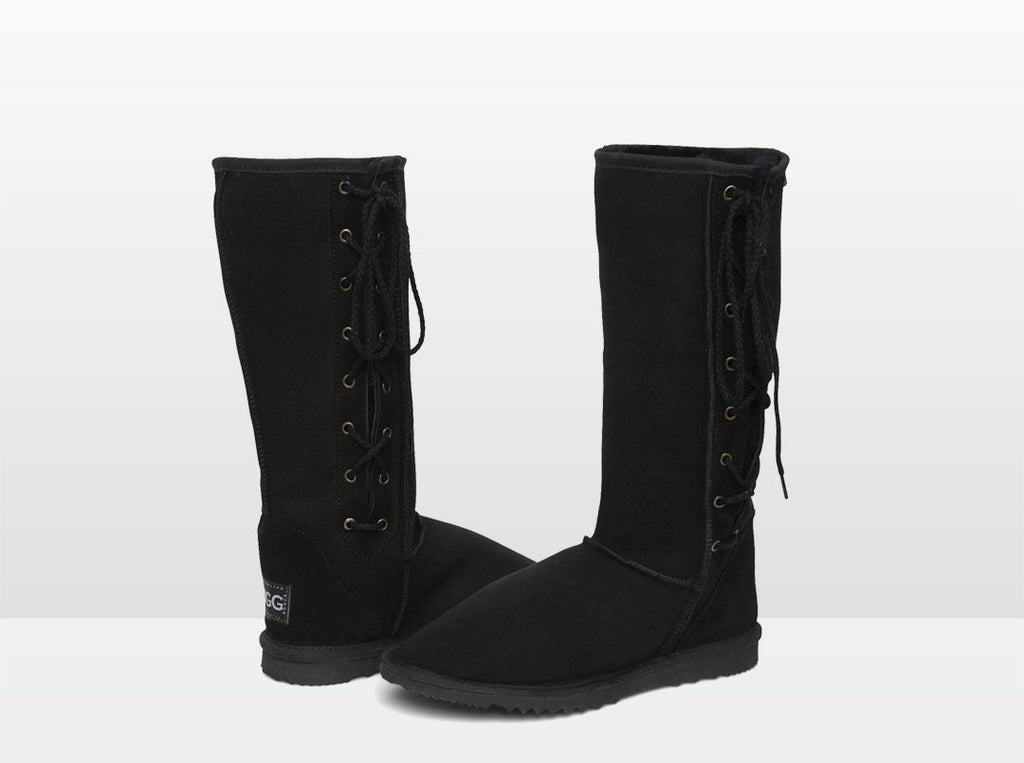 Adults Black Lace Up Tall Ugg Boot