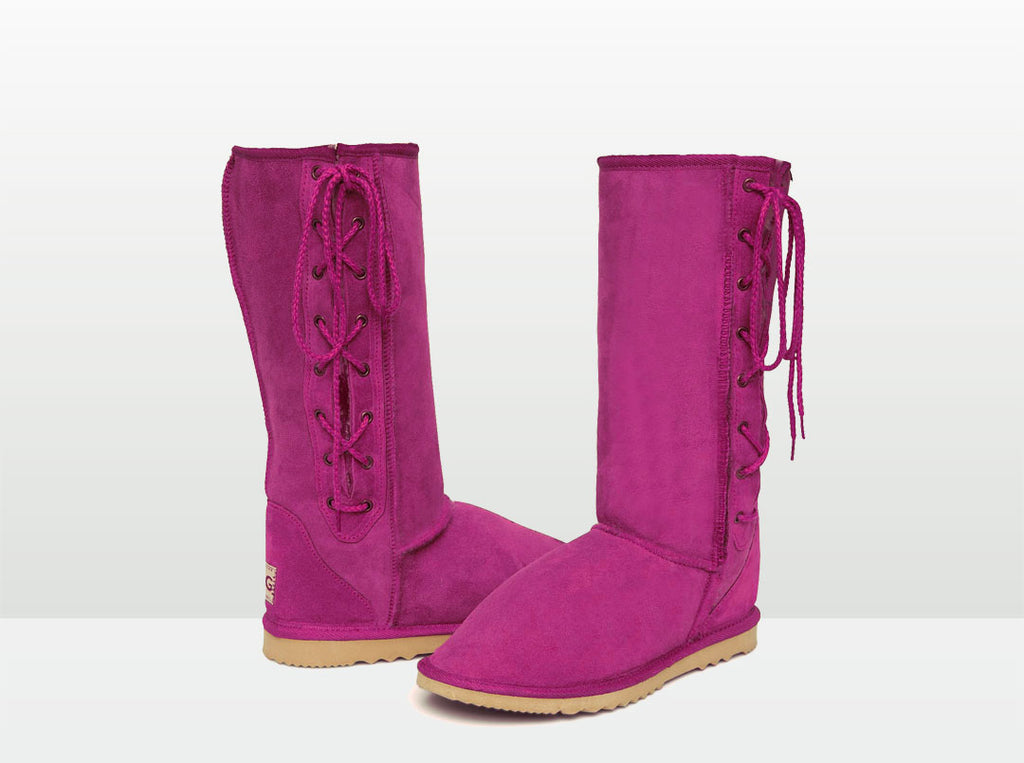 Adults Bright Rose Lace Up Tall Ugg Boot