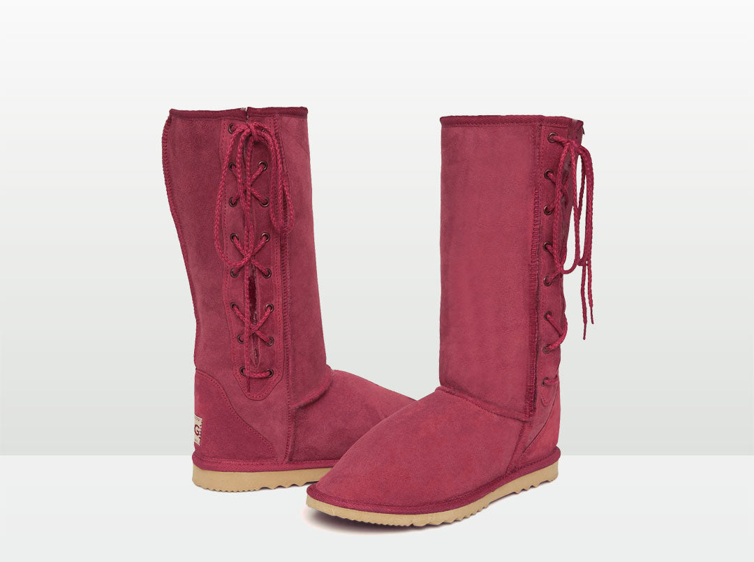 Adults Burgundy Lace Up Tall Ugg Boot