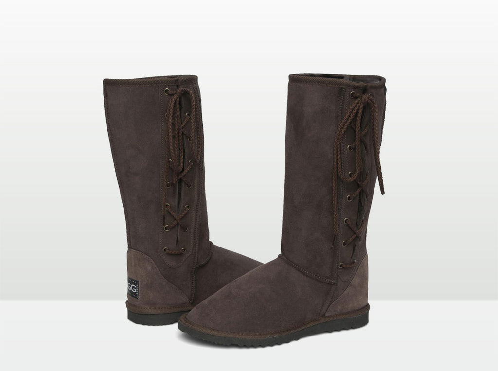 Adults Chocolate Lace Up Tall Ugg Boot