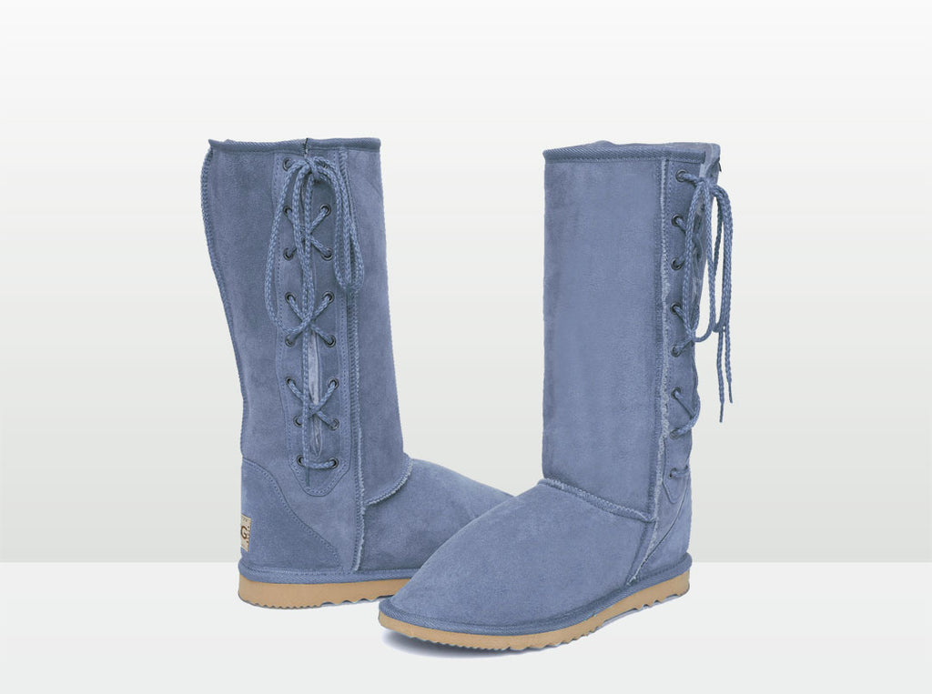 Adults Denim Blue Lace Up Tall Ugg Boot