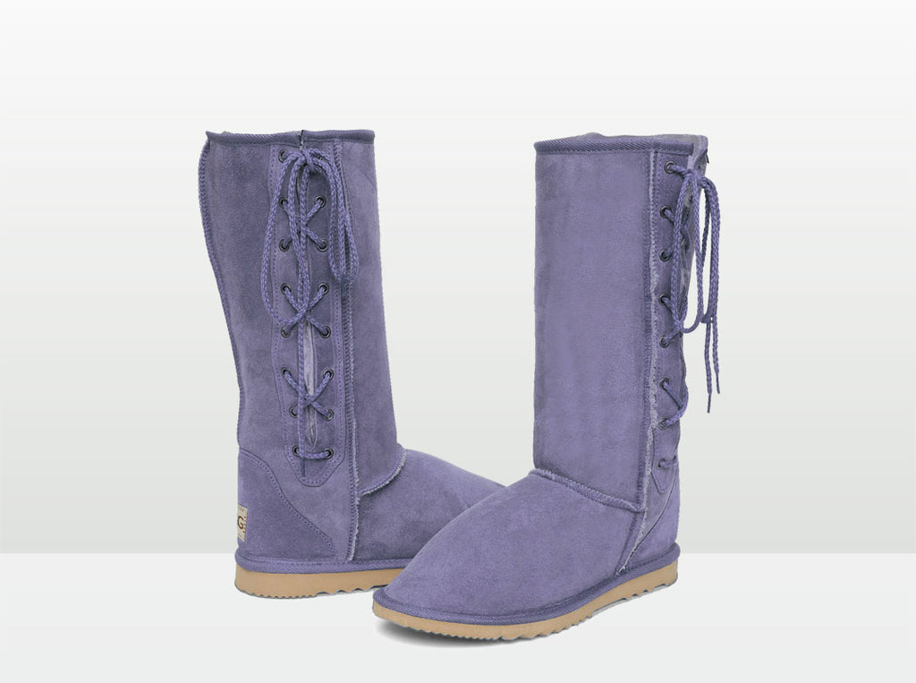 Adults Lilac Lace Up Tall Ugg Boot