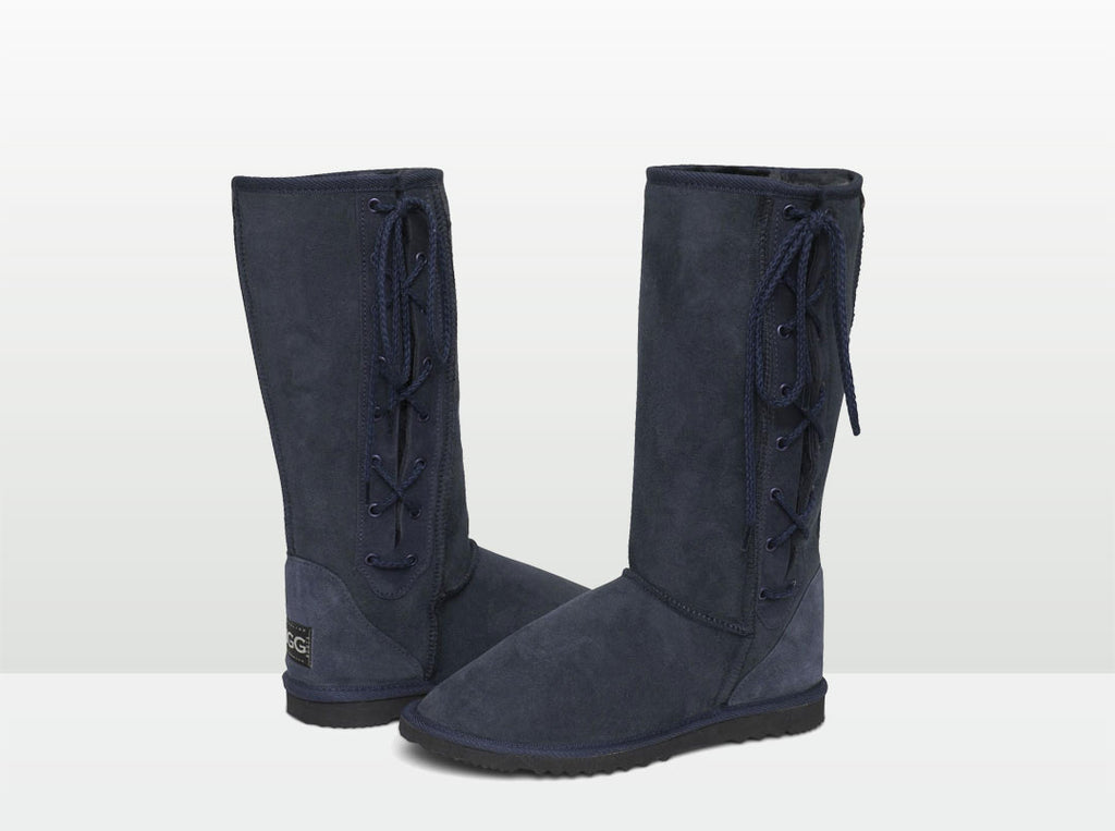Adults Navy Blue Lace Up Tall Ugg Boot