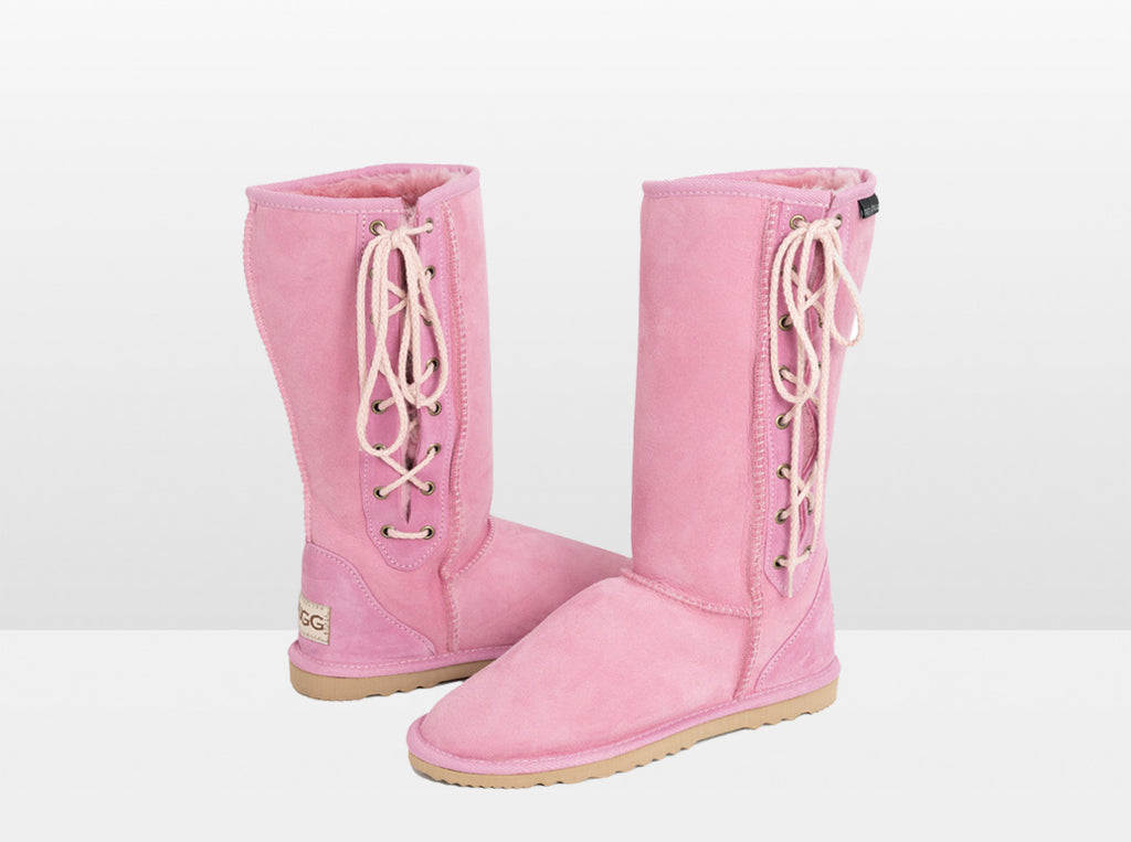 Adults Pink Lace Up Tall Ugg Boot