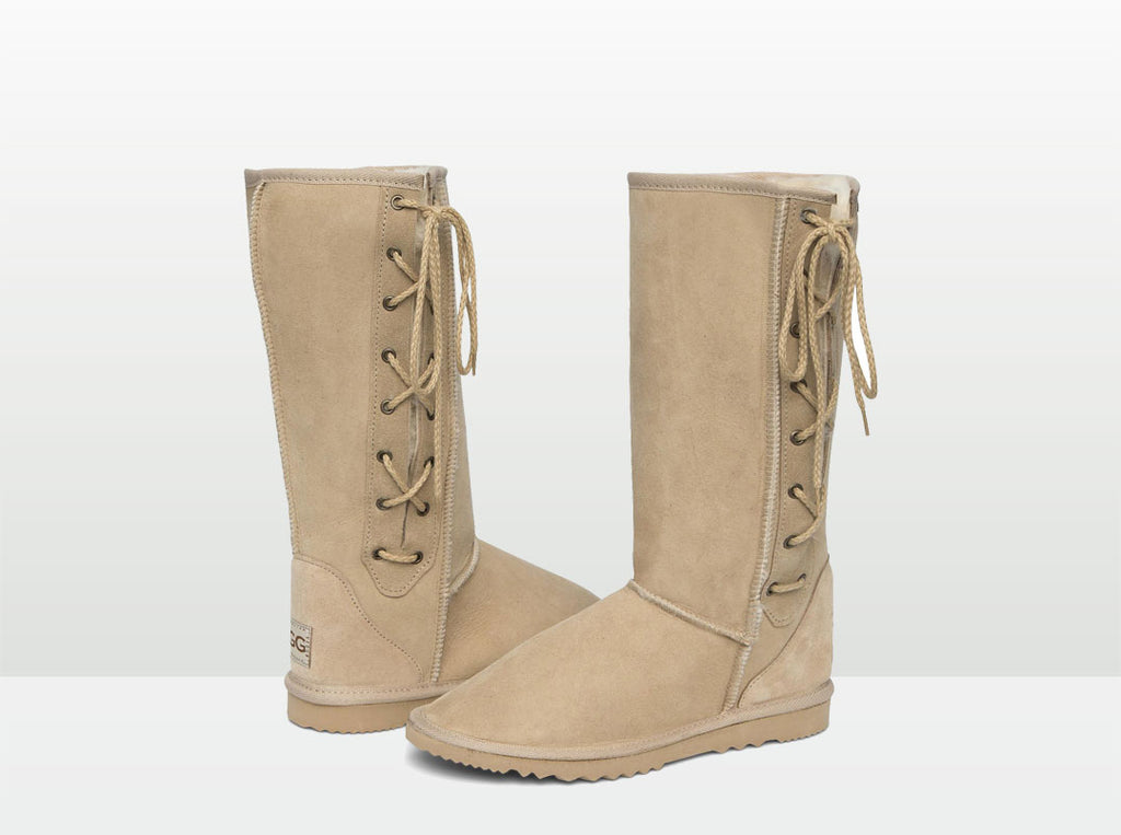 Adults Sand Lace Up Tall Ugg Boot