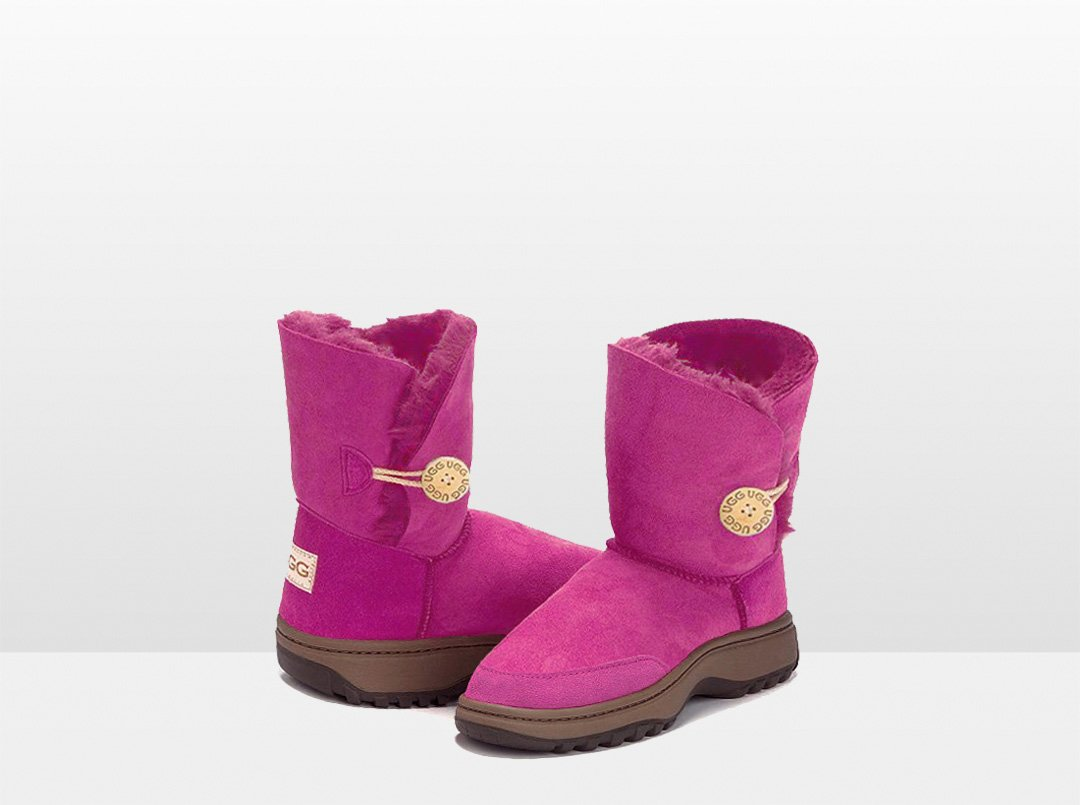 Adults Bright Rose Bella Button Ugg Boot with Outdoor Sole