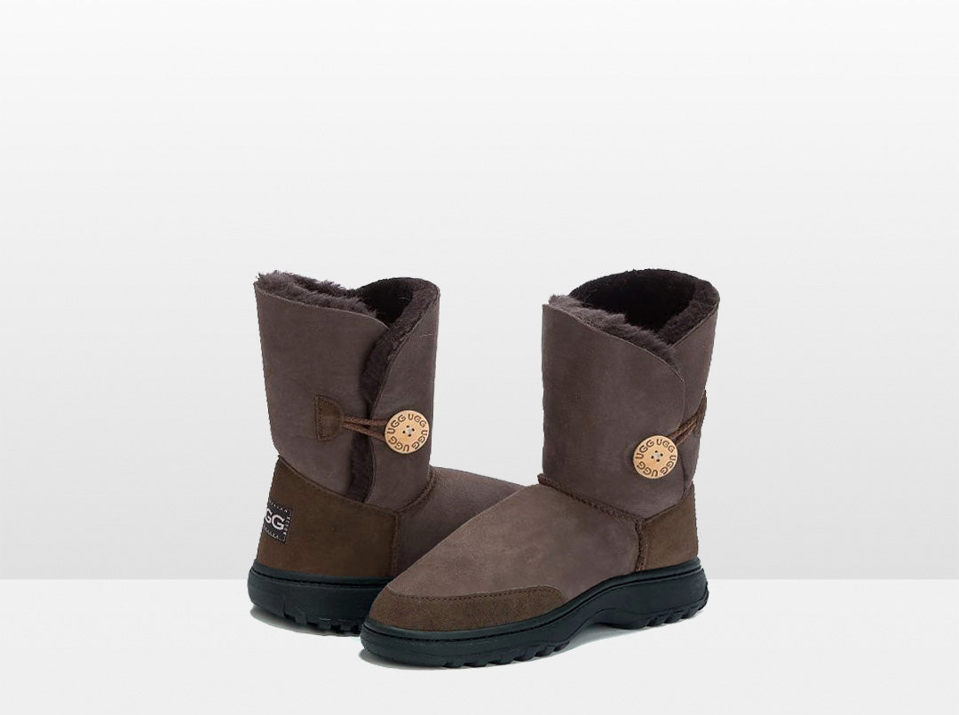 Adults Chocolate Bella Button Ugg Boot with Outdoor Sole