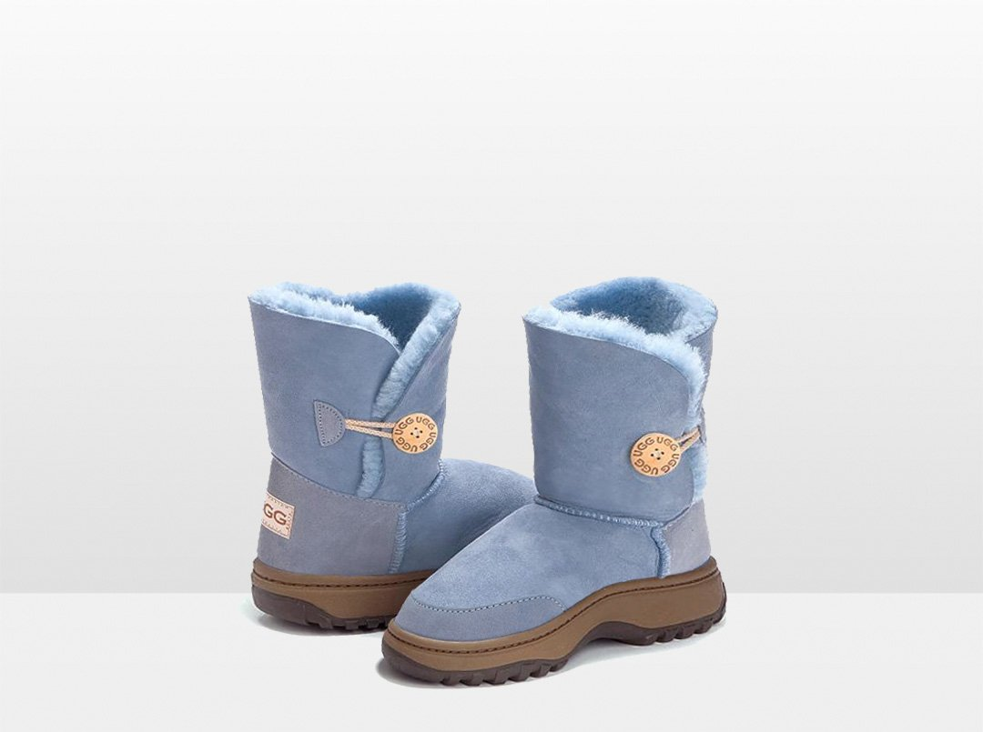 Adults denim Blue Bella Button Ugg Boot with Outdoor Sole