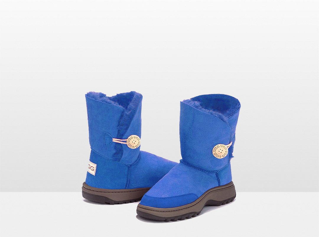 Adults Electric Blue Bella Button Ugg Boot with Outdoor Sole