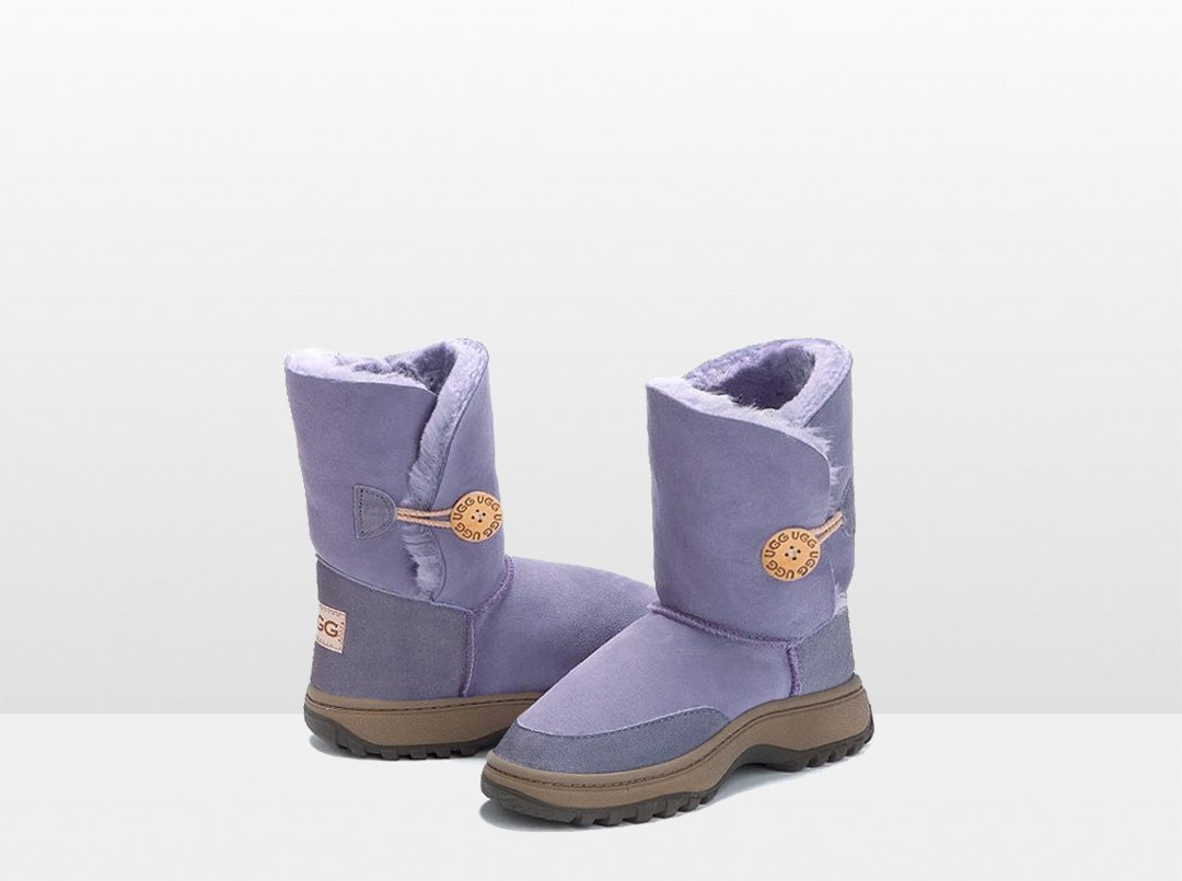 Adults Lilac Bella Button Ugg Boot with Outdoor Sole