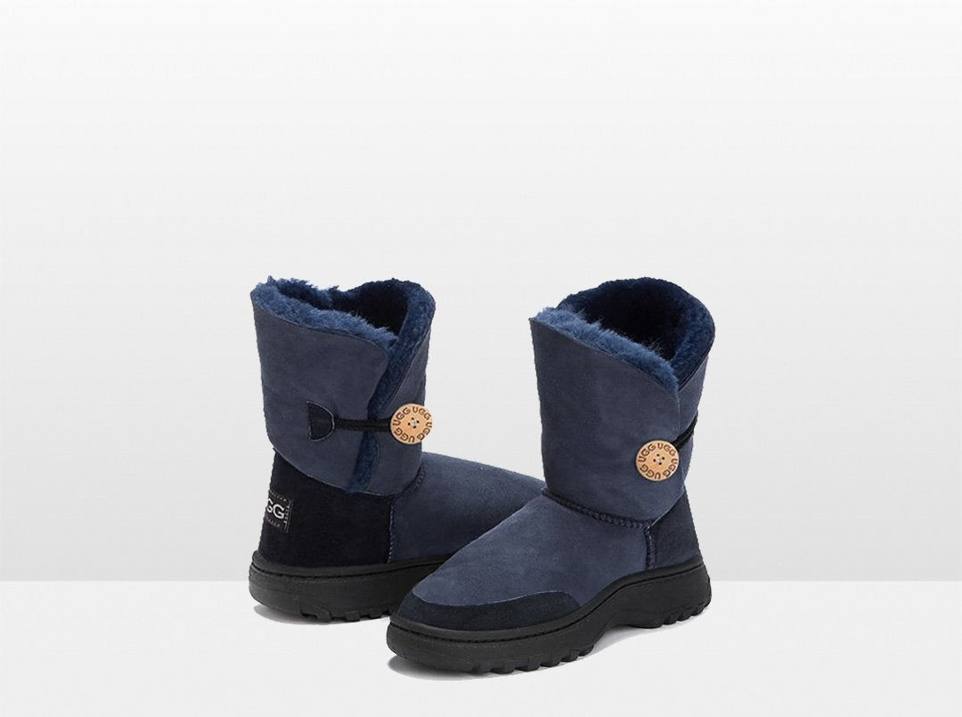 Adults Navy Bella Button Ugg Boot with Outdoor Sole