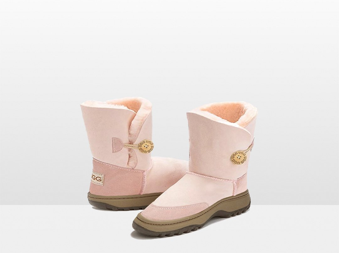 Adults Pink Bella Button Ugg Boot with Outdoor Sole