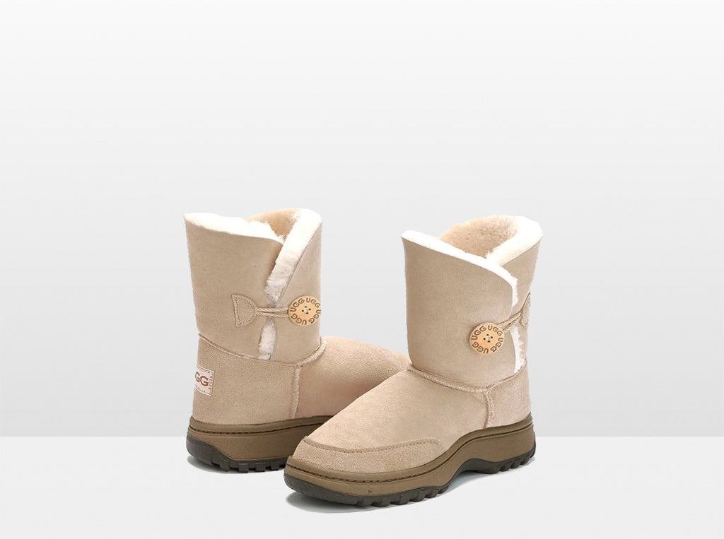 Adults Sand Bella Button Ugg Boot with Outdoor Sole