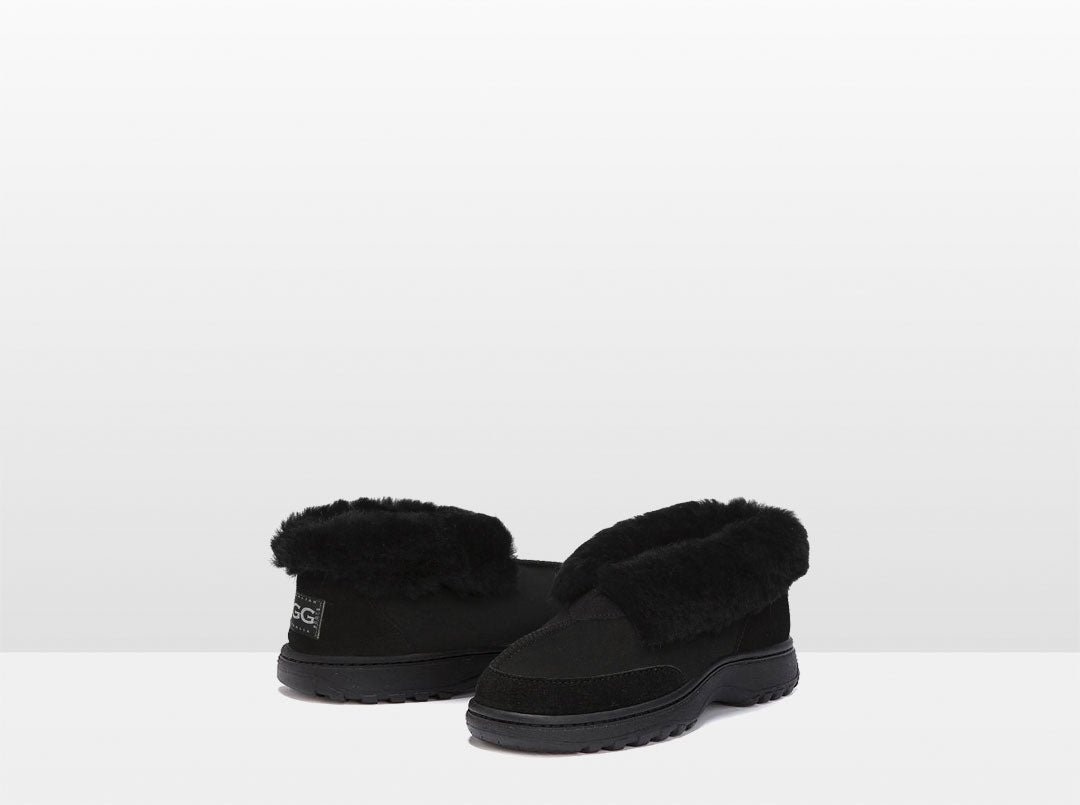 Adults Black Classic Ugg Style Slippers with Outdoor Sole