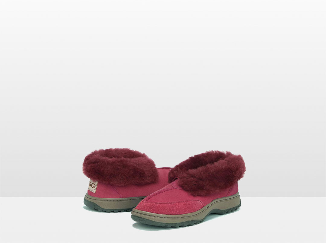 Adults Burgundy Classic Ugg Style Slipper with Outdoor Sole