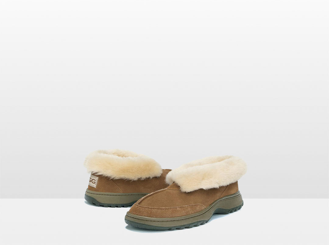 Adults chestnut Classic Ugg Style Slipper with Outdoor Sole