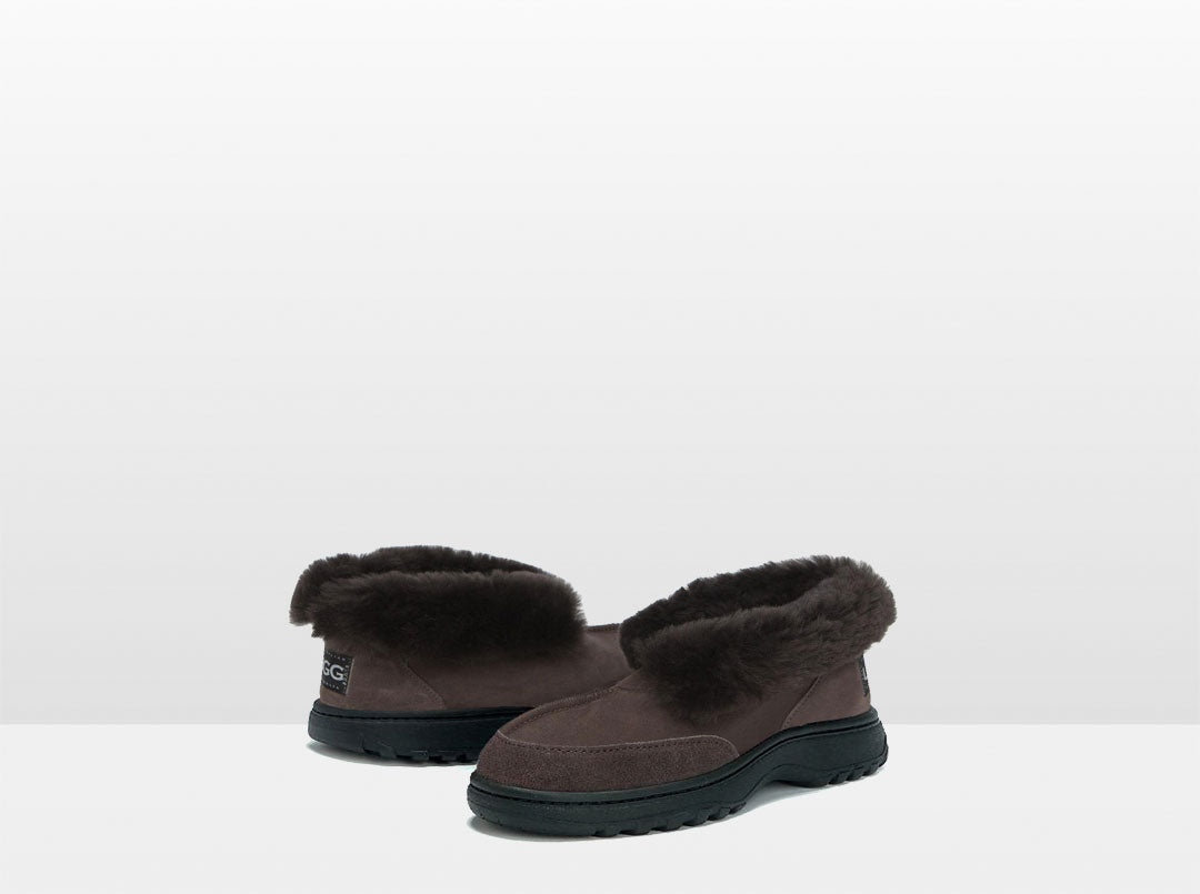 Adults Chocolate Classic Ugg Style Slipper with Outdoor Sole
