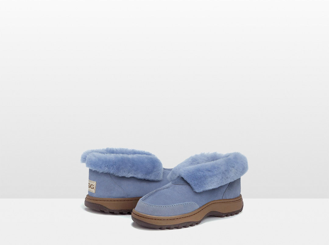 Adults Denim Blue Classic Ugg Style Slipper with Outdoor Sole