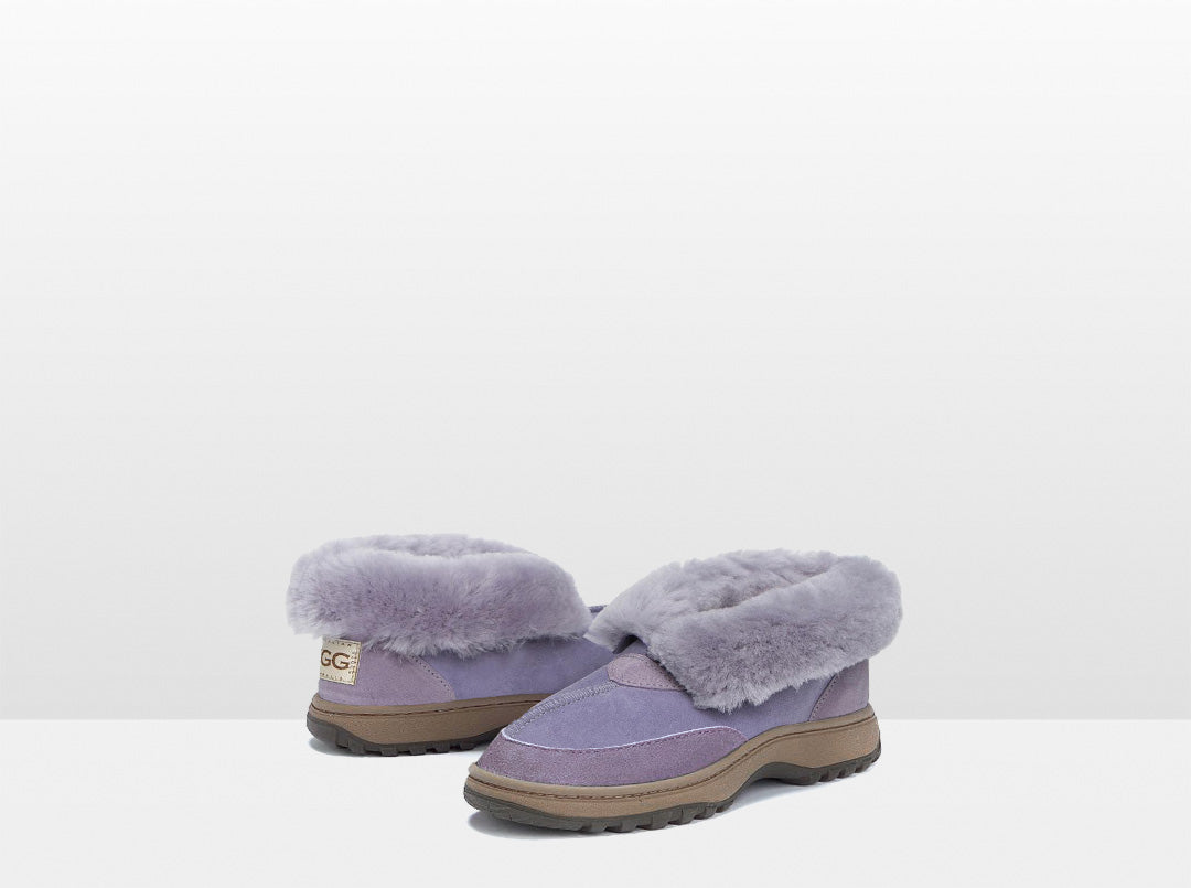 Adults Lilac Classic Ugg Style Slipper with Outdoor Sole