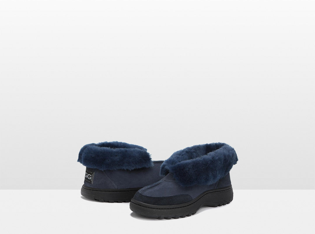 Adults Navy Classic Ugg Style Slipper with Outdoor Sole