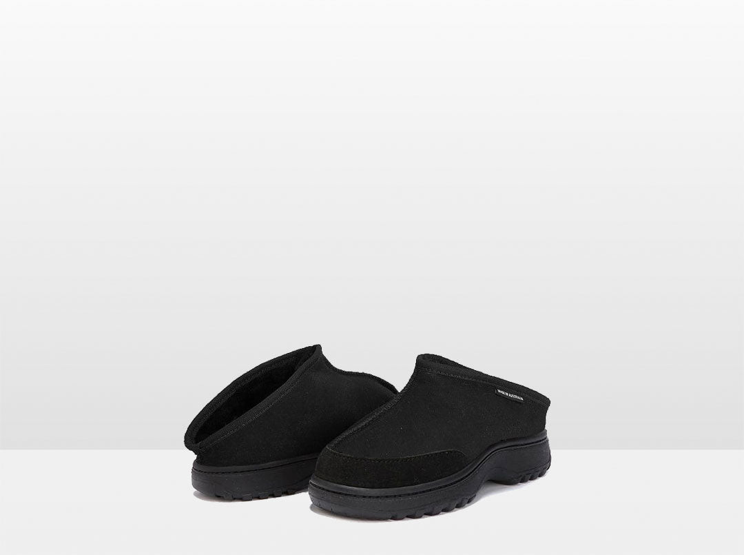 Adults Black Classic Kalu Ugg Style Slippers with Outdoor Sole