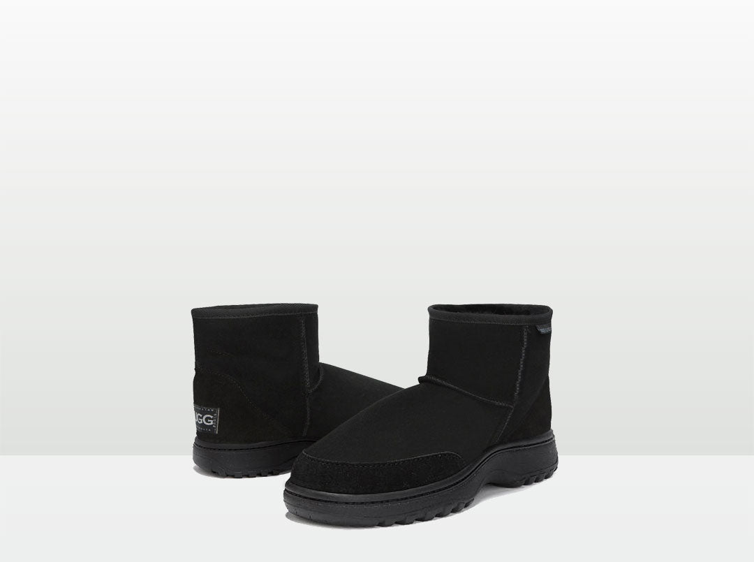 Adults Black Classic Ultra Short Ugg Boots with Outdoor Sole